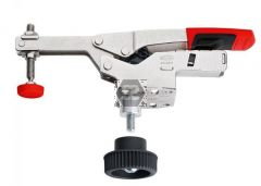 Horizontal toggle clamp with open arm and horizont