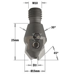 CMT 351 Threaded Countersink TCT D=3/16 S=M10/30 R