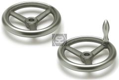 Handwheel 140 dia 14mm bore + revolving side handl