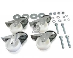 set of 4 80mm braked wheels for machines
