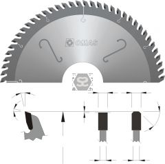 OMAS TCT Panel Sizing Saw Blade d=75 D=300 Z=72 V=