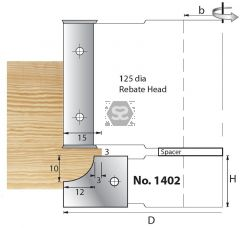 Whitehill 1402 TC Mould Head D=125 x 20 d=1 1/4