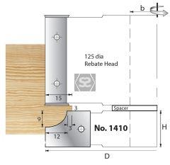 Whitehill 1410 TC Mould Head D=125 x 20 x 30