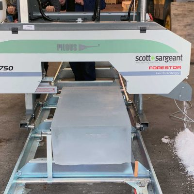 Forestor Sawmill Cuts Ice Blocks & Beams